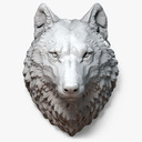 Wolf Head Sculpture Serious