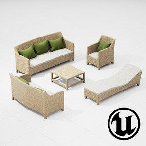 3d dedon barcelona set model