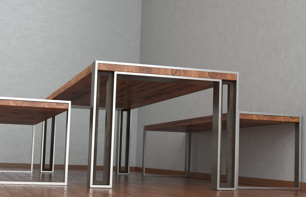 charles table bench 3d model