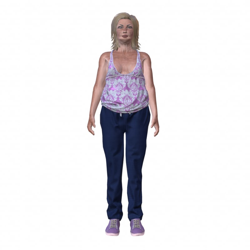 3d white woman rigged