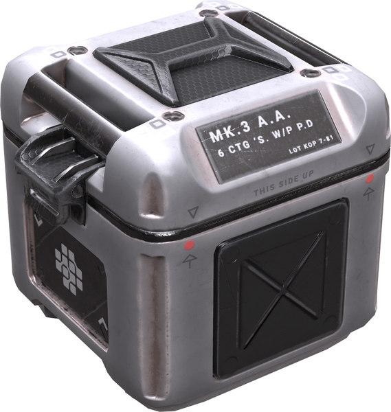 sci fi pbr crate 3d fbx