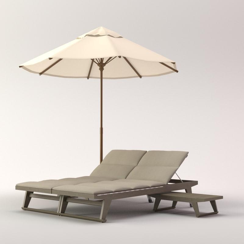 3d model beach umbrella gio lounge chair