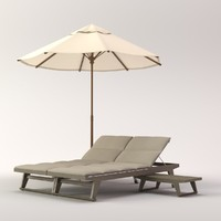 3d model beach umbrella gio lounge chair
