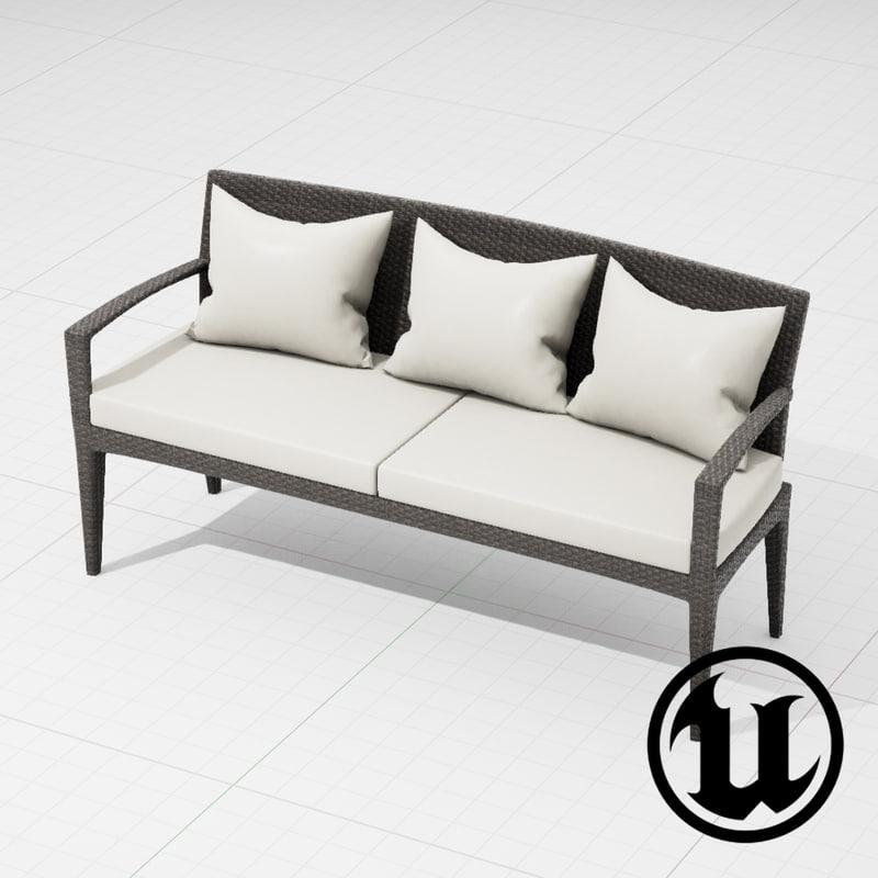 3d model dedon panama sofa