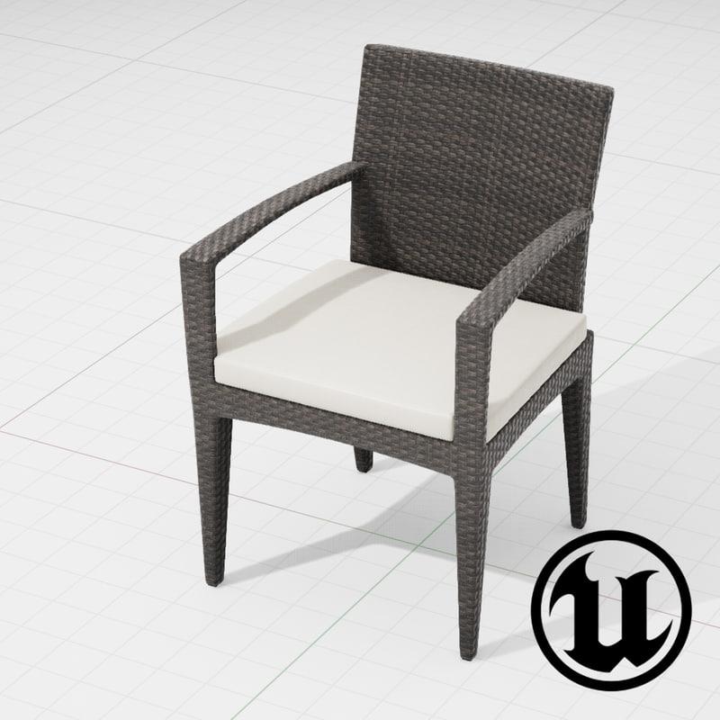 dedon panama chair ue4 3d model