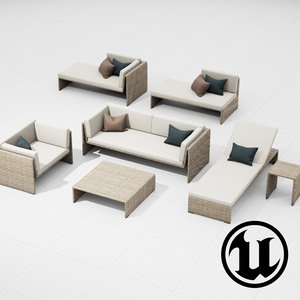 dedon slimline set ue4 3d model