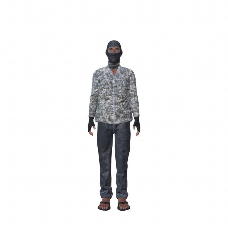 3d isis terrorist man model