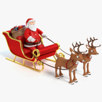 Cartoon Santa Sleigh and Reindeer