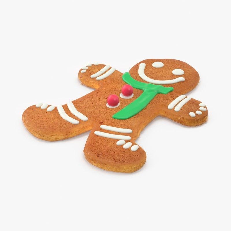 3d gingerbread man green scarf