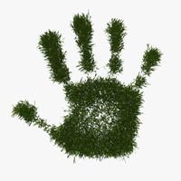 3d model green peace hand