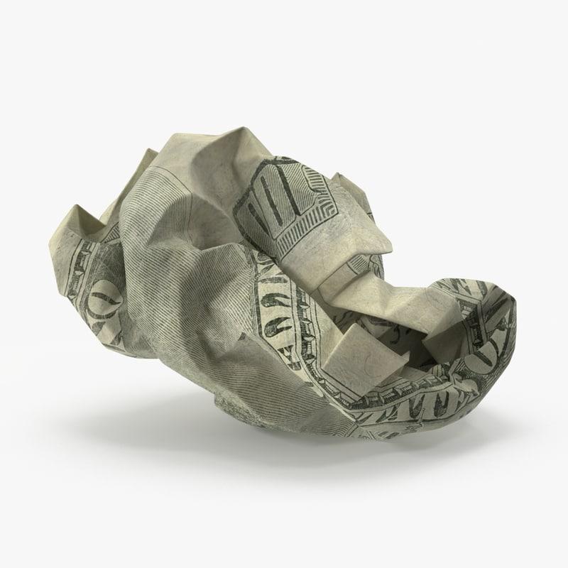 100 dollar bill crumpled 3d model