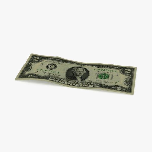 2 dollar bill 3d model