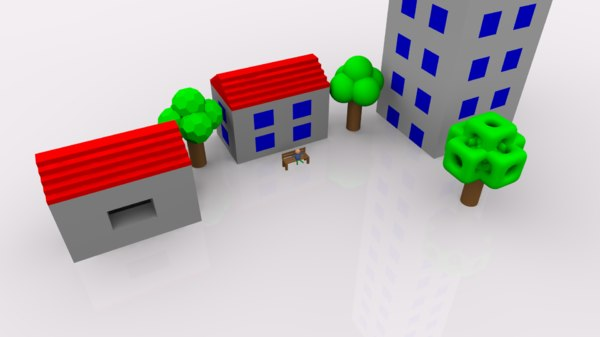 dxf simple pack houses trees