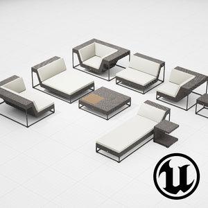 3d model of dedon zofa set ue4