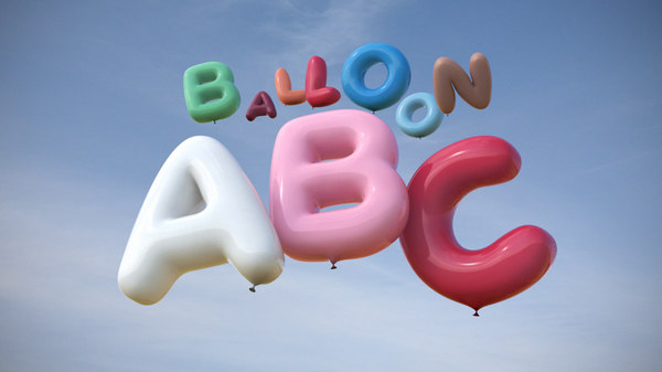 3d model balloons inflated letters