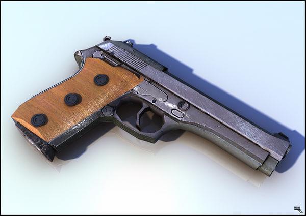 pistol gun weapon 3d model