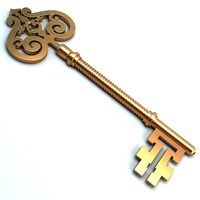 vintage golden key 3d max