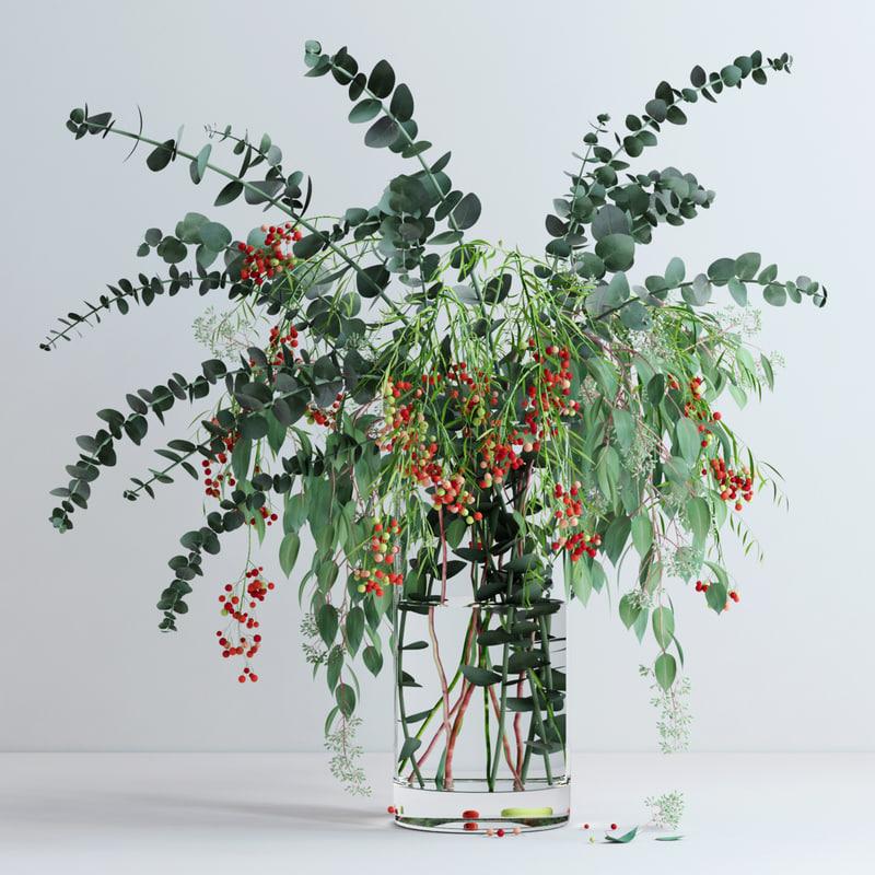 vase eucalyptus flowers 3d max