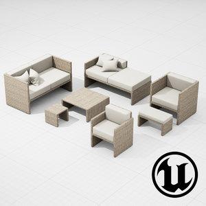 patio furniture ue4 3d fbx
