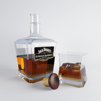bottle whiskey glass 3d model