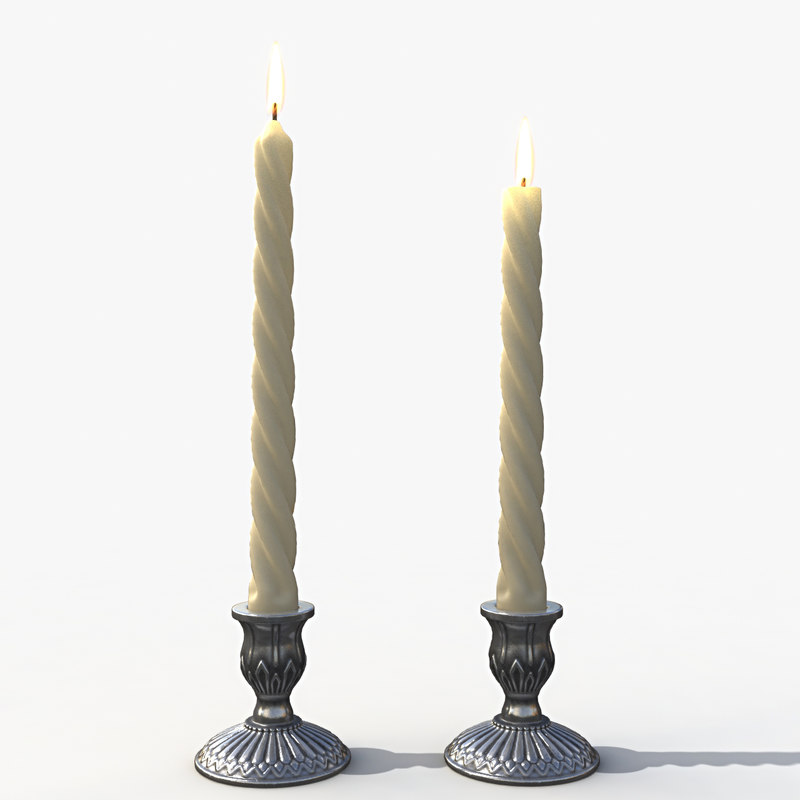 candle candlestick melted 3d max