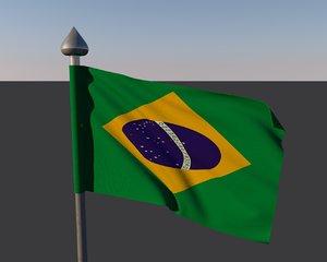 3d model brazil flag