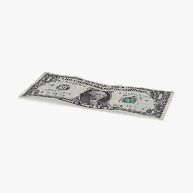 1 dollar bill single 3d max