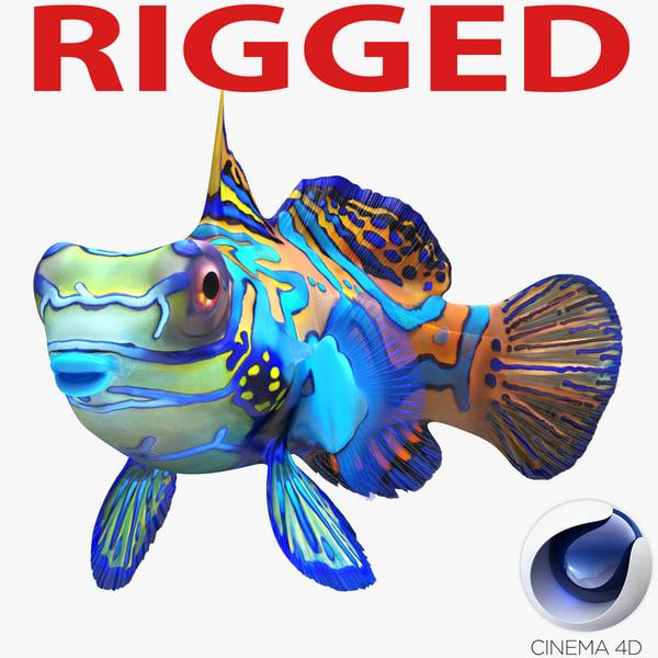 3d mandarinfish rigged model