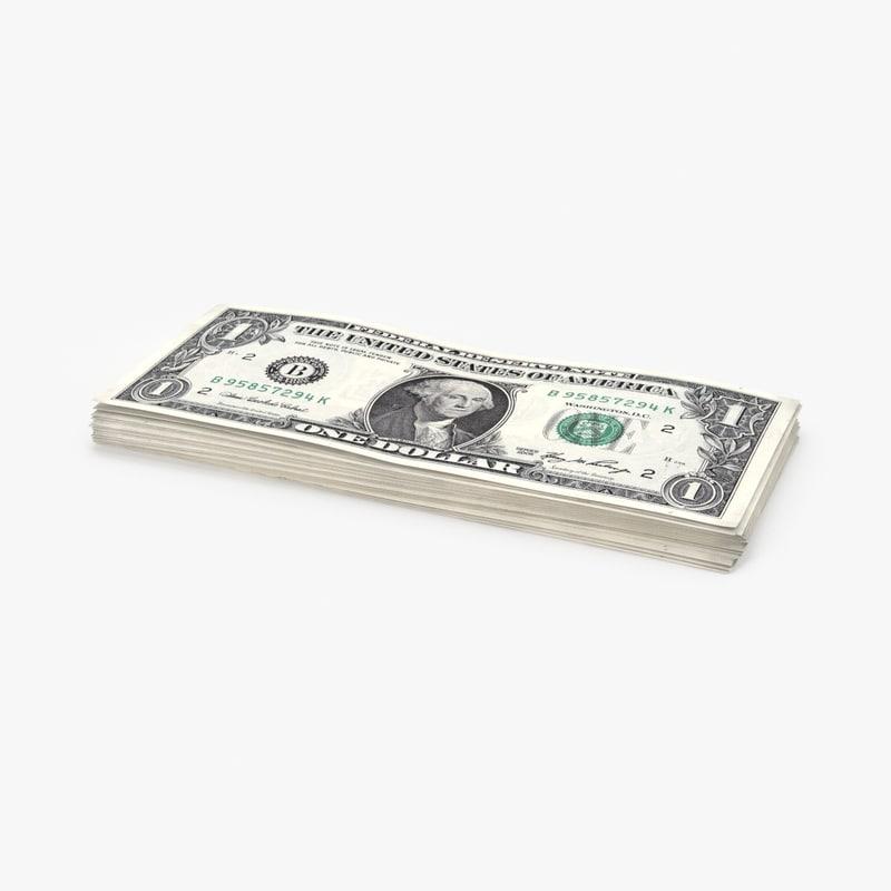 1 dollar bill stack 3d max