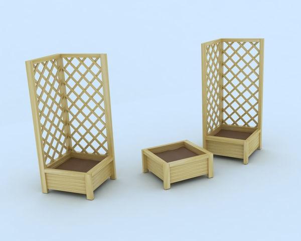3d wooden planters model