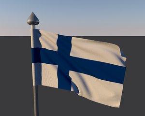 3d model of finlande flag
