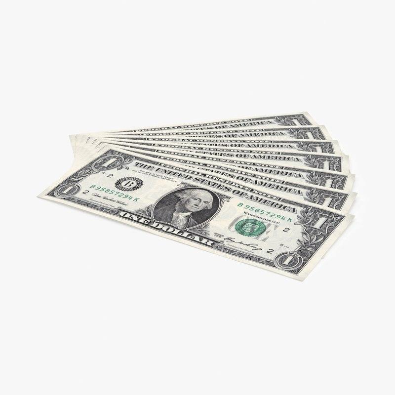 3d model 1 dollar bill fanned