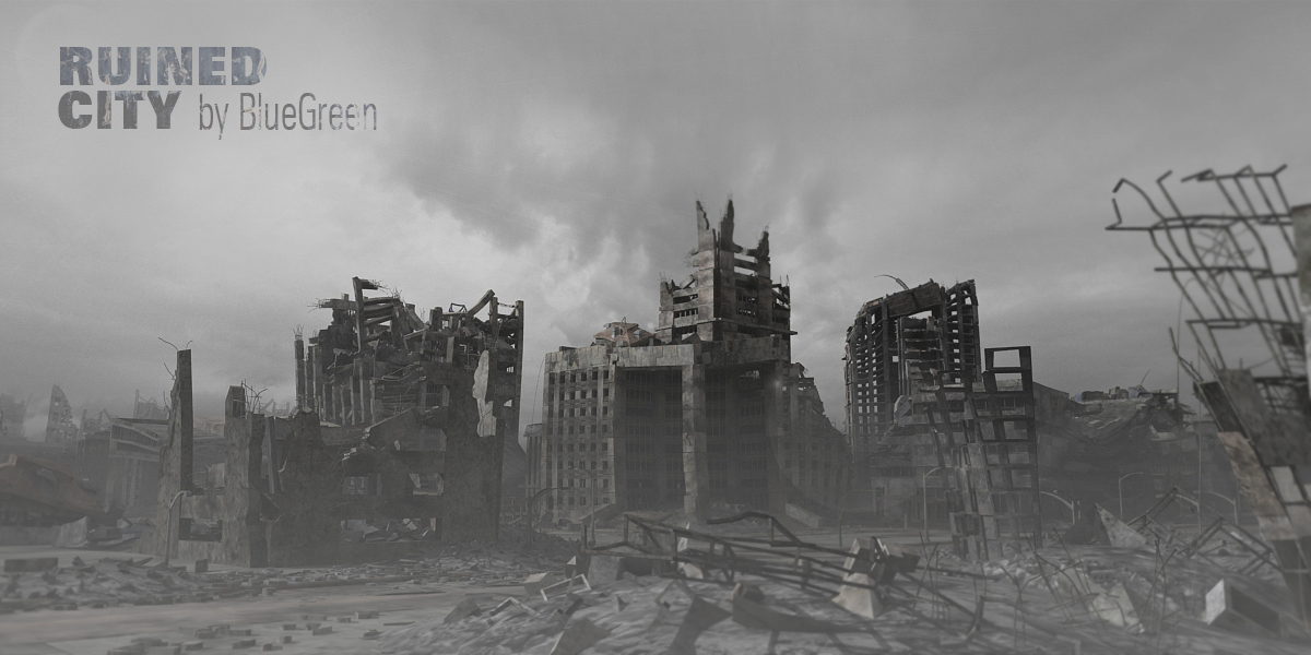 3d ruined city
