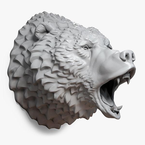 roaring bear head 3d model