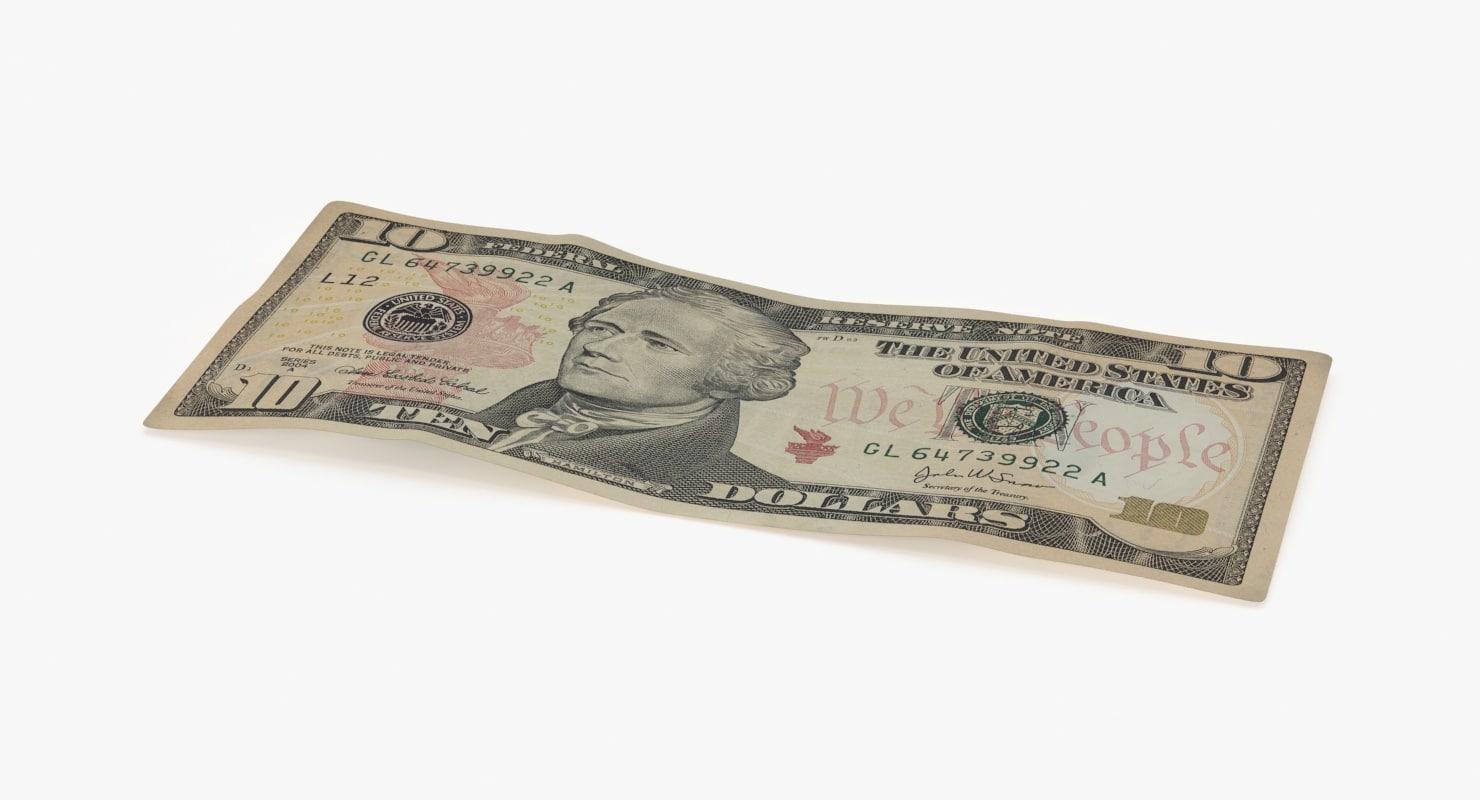 3d 10 dollar bill single