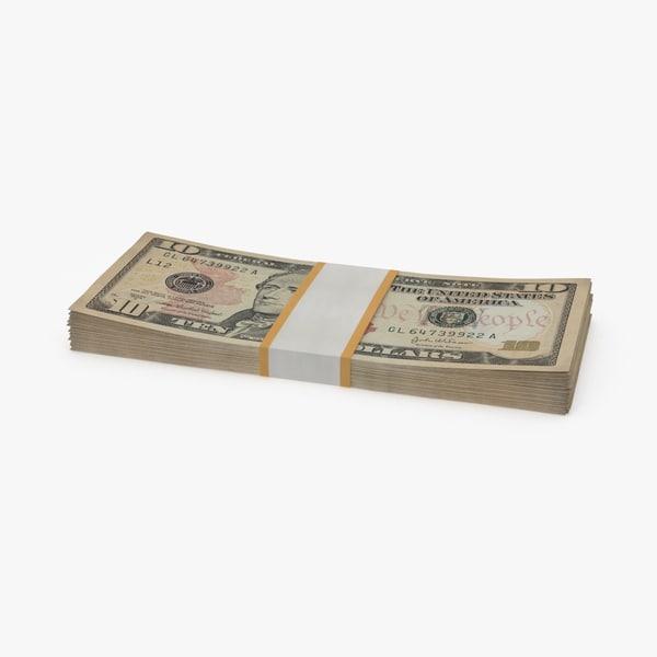 3d 10 dollar bill pack model