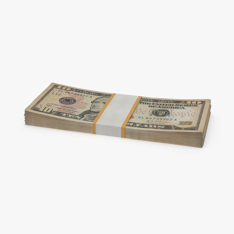 3d 10 dollar bill pack model