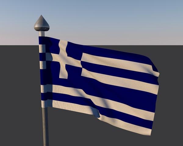 3d obj flag greece