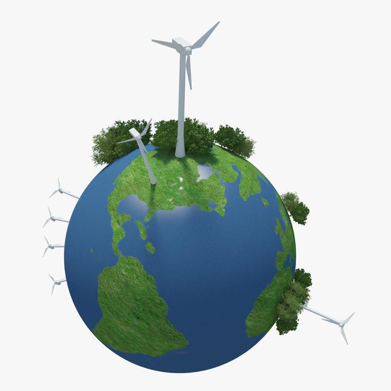 planet earth green 3d model