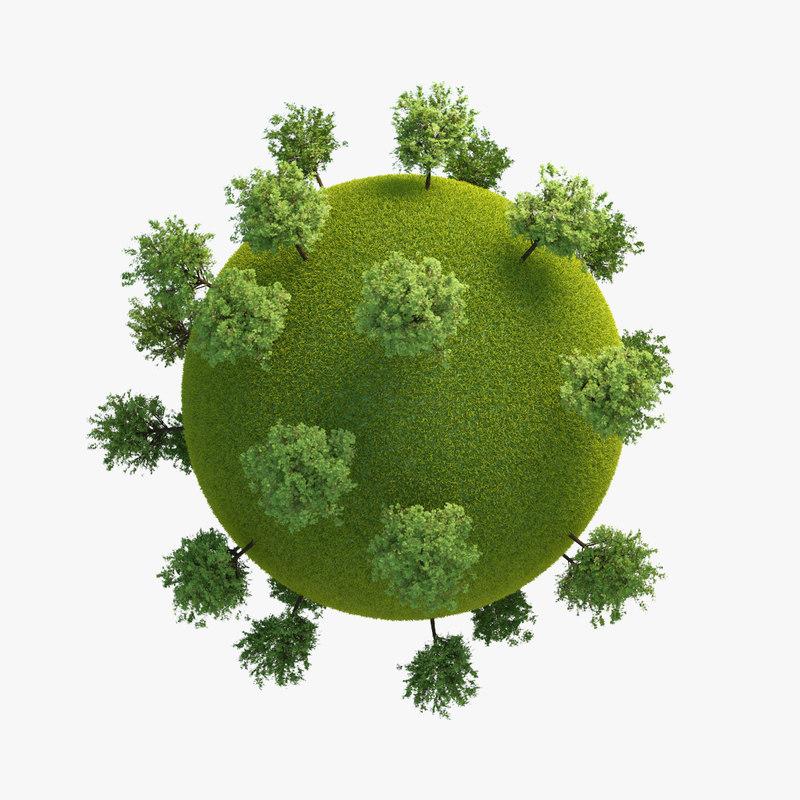 3d model planet green