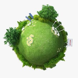 3d model of planet green energy