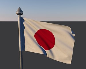 3d model japan flag