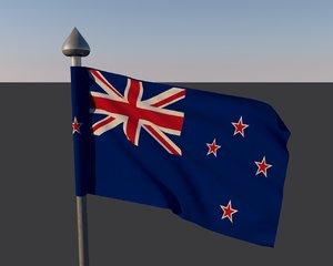 3d flag new zeland