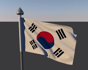 3d flag south korea