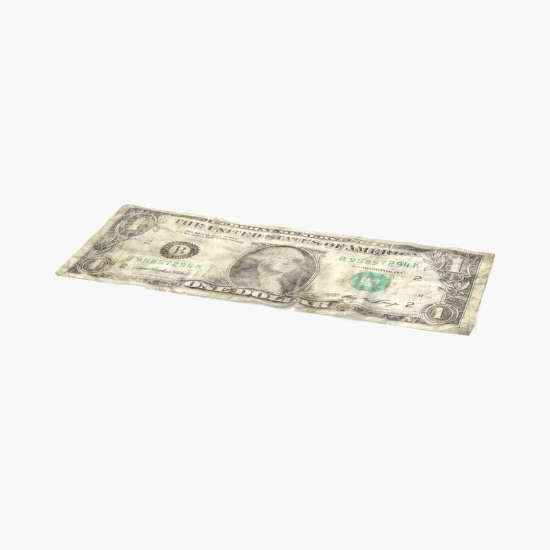 3d 1 dollar bill distressed