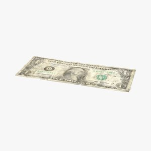 3d 1 dollar bill distressed