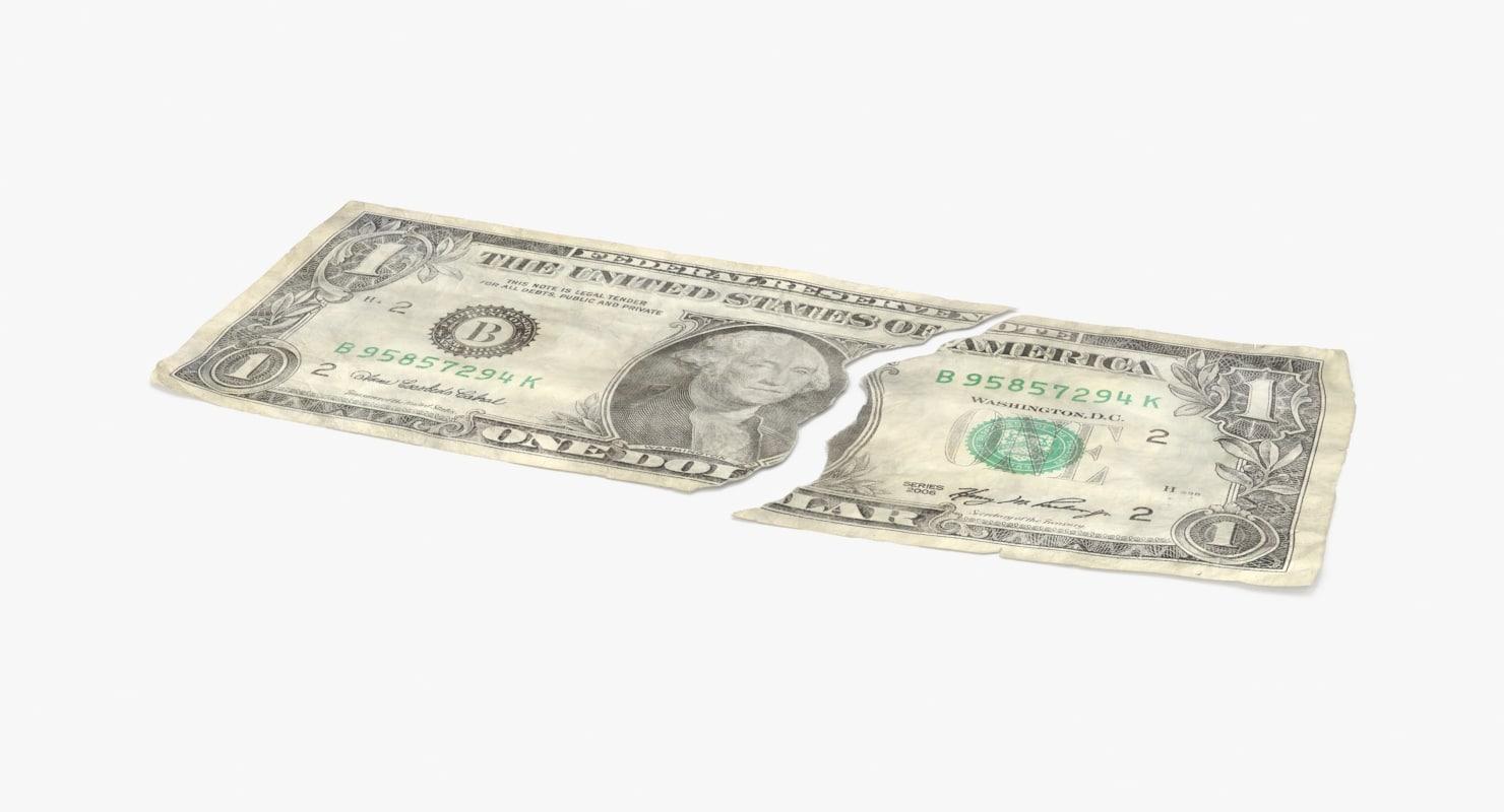 3d 1 dollar bill torn model