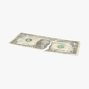 3d 1 dollar bill torn model