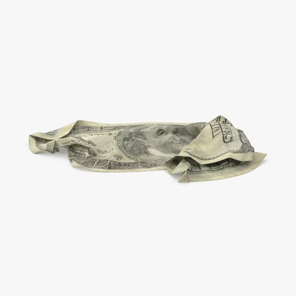 3d 100 dollar bill crumpled