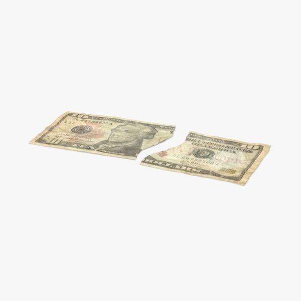 10 dollar bill torn 3d max